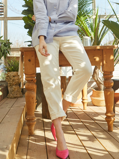 COTTON BOY-FIT PANTS WHITE