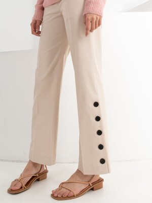 LINEN SLIT BUTTON PANTS . BEIGE