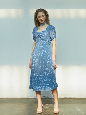 Puff Shoulder Square Neck Dress_ Blue