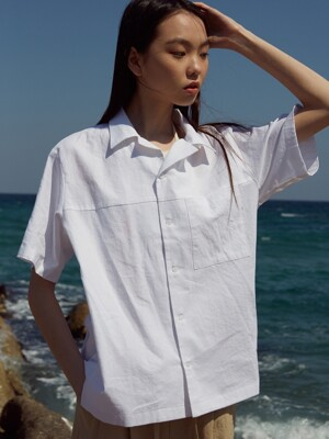LINEN OPEN COLLAR SHIRT_ocean foam white