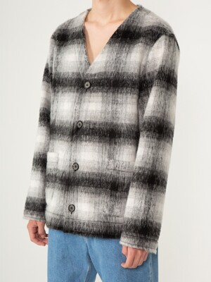 KNIT MOHAIR CARDIGAN CHECK WHITE BLACK