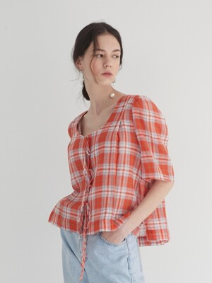 19' SUMMER_Orange Check Bolero Blouse