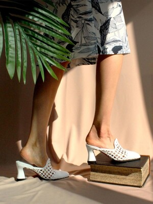 Mesh Loafer Mule(white)