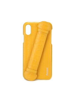 LEATHER iPHONE X/XS HANDLE CASE - CROCO MANDARIN