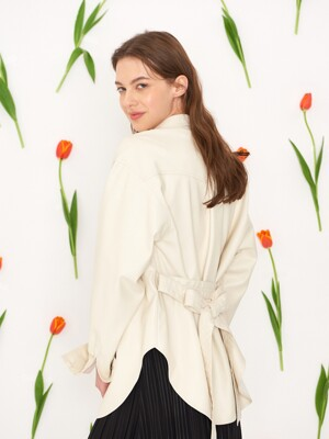 Classy Standard Leather Jacket Ivory