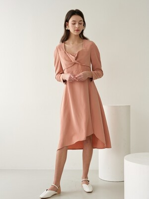 HEART NECK CUPRA DRESS PINK
