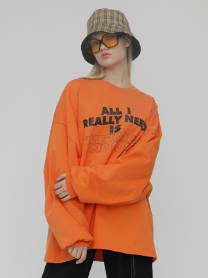 [UNISEX]R LINE LOGO T SHIRT_ORANGE