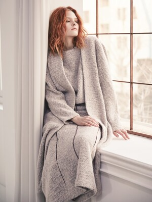 Voluminous Sleeves Alpaca Long Cardigan