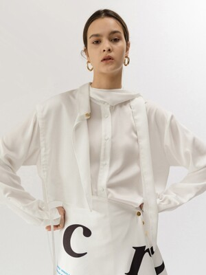 19FW DRAW STRING LAYERED SATIN SHIRT (WHITE)