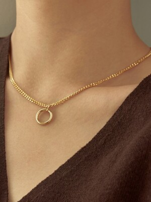 one point ring necklace-gold