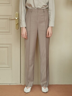 pin-tuck straight slacks - beige