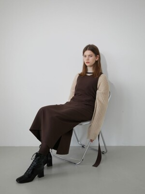 19' WINTER_BRANDY BROWN SIDE SLIT LAYERED DRESS