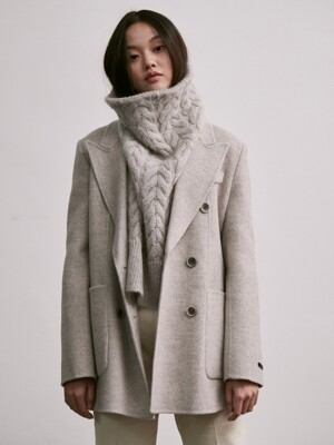 handmade wool double half coat_gray