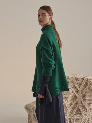 Rothko Cashmere Blend Oversized Logo Knit_Forest Green
