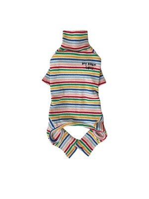 Rainbow stripe all in one (ivory)