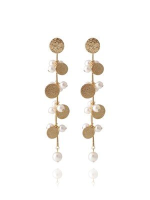 Gold Plate With Pearl Cluster Earrings