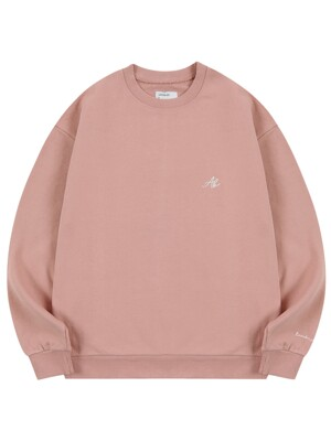 AB LOGO EMBROIDERY CREW NECK_INDI PINK