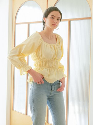 ELASTIC BAND BLOUSE_YELLOW