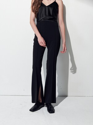 HIGHWAIST SLIT PANTS . BLACK