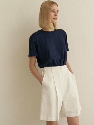 Wide linen shorts-White