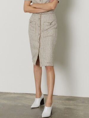 TWEED SKIRT_BEIGE