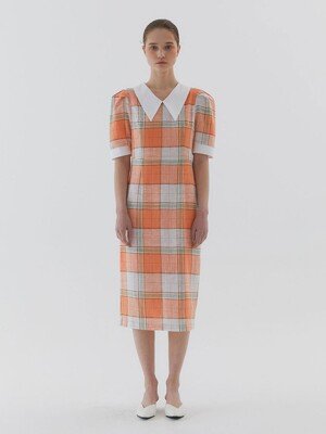 Check Long Dress_Orange