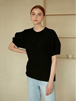 SEERSUCKER VOLUME PUFF T-SHIRTS BLACK