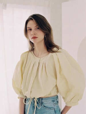 [단독]VOLUME CROPPED BLOUSE_BUTTER LEMON