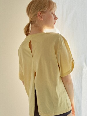 Back Slit T-shirt Yellow