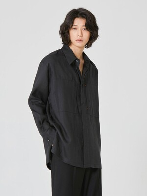 ORGANIC Double Pocket Linen Shirt_Black