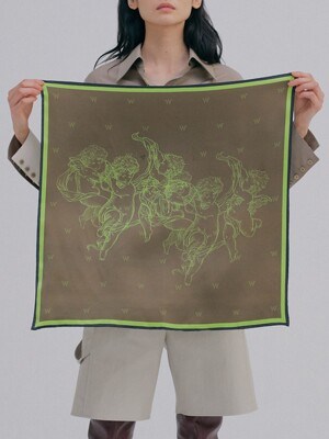 Print Silk Scarf_Brown