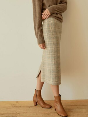 warm check midi skirt[gray]