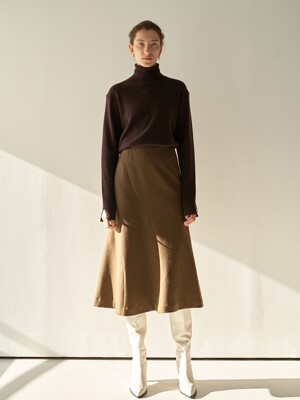TTW ASYMMETRIC LINE WOOL SKIRT 2COLOR