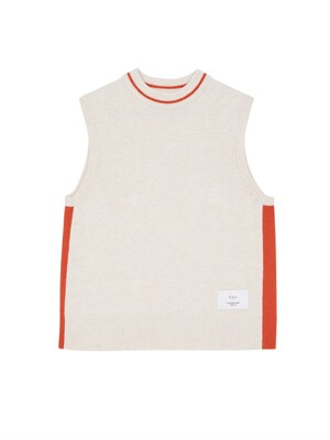 [EXCLUSIVE] Color Lined Knit Vest oatmeal & orange