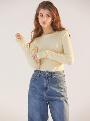 DOUBLE SHIRRING SLEEVE TOP YELLOW