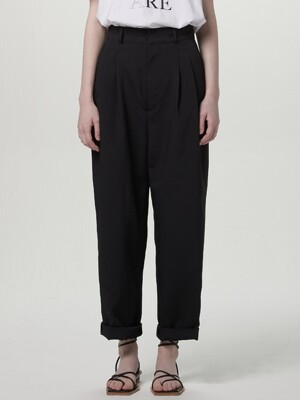 Highwaist tuck pants - Black