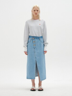 SICOR Asymmetric Front Denim Skirt with Slit - Denim Blue