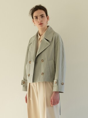 TOS DOUBLE HALF TRENCH COAT MINT GREY