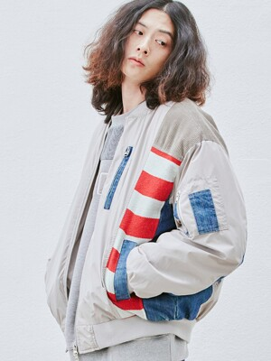 Washed Mix MA-1 Jacket (gray)