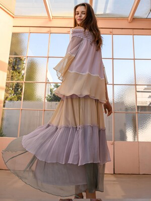 Triple Color Tiered Silk Maxi Skirt