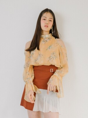 High-waist belted skirt (Brown)