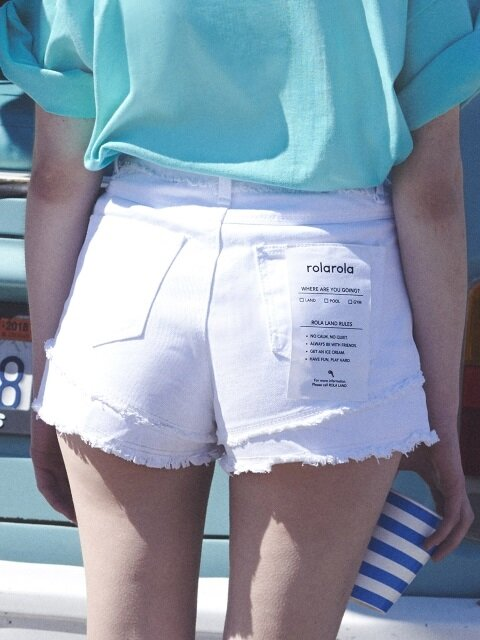 (PT-18303)DAMAGED CUTTING SHORT PANTS WHITE