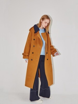 HAMBOURG trench wool coat (Camel brown & Navy)