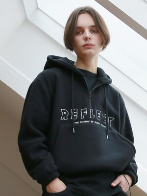 UNISEX PICTURE FLEECE ANORAK BLACK