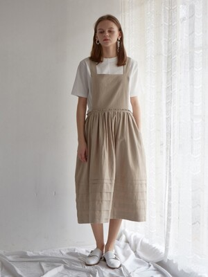 PINTUCK APRON DRESS FRENCH NATURAL LINEN COTTON
