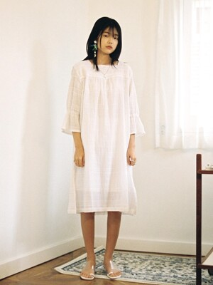 Square Neck Cotton Dress, white