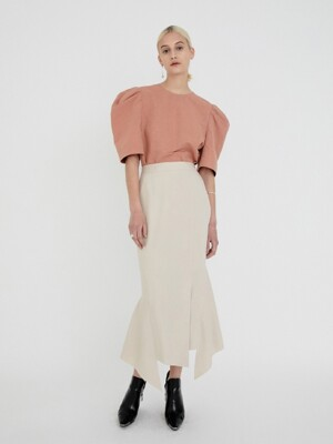 ASYMMETRIC RUFFLED SKIRT (L.BEIGE)