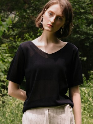 comos`196 v-neck ribbon knit (black)