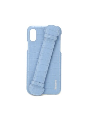 LEATHER iPHONE X/XS HANDLE CASE - CROCO FOG BLUE