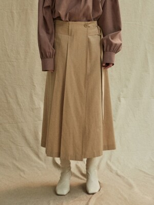 19FW WOOL BELT SKIRT - BEIGE